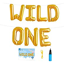 16 INCH WILD ONE Kids First Birthday Balloons, Baby Girl Boy 1st Bday Party Supplies with Air Pump