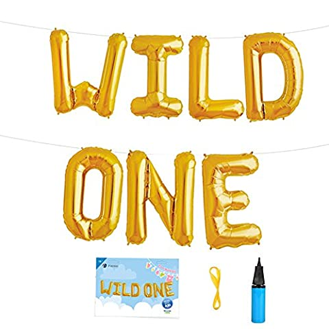 16 INCH WILD ONE Kids First Birthday Balloons, Baby Girl Boy 1st Bday Party Supplies with Air Pump - 1st Birthday Balloon