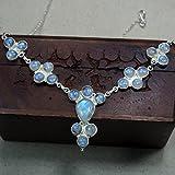 CZgem Big Moonstone Necklace Sterling silver - Blue