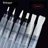 6 PCS Portable Water Color Brush Pen Watercolor Brushes Pens - Set of 6 Brush Tips for Watercolor Painting - Water Soluble Pencils - Brush Pens - Markers - Aquash Water Brush - Flat & Rounded