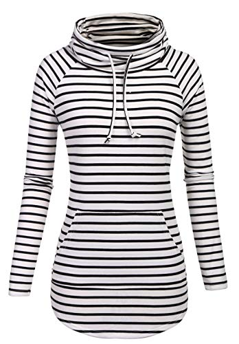 SimpleFun Black and White Striped Sweater Womens Fall Long Sleeve Loose Casual Pullover Tunic Tops (White Stripe,XL)