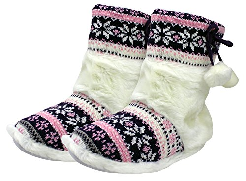 Enimay Dames Slipper Boots Lounge House Relaxed Schoenen Winter Snow Flakes Hearts Paars - 3