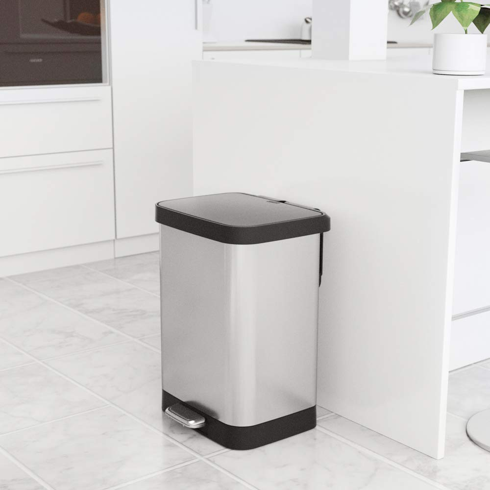 GLAD GLD-74506 Stainless Steel Step Trash Can with Clorox Odor Protection of The Lid   Fits Kitchen Pro 13 Gallon Waste Bags by Glad (Image #7)