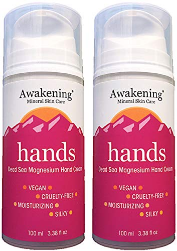 (Twin Pack (Two 3.38oz/100ml) pump bottles Awakening HANDS Magnesium-Rich Hydrating Hand Therapy Cream for Dry, Cracked Skin.)