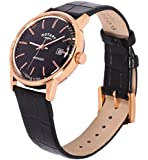 Rotary Men's Quartz Watch with Black Dial Analogue Display and Black Leather Strap GS02877/04