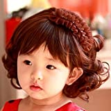 Spritech(TM) Children's Lovely Stylish Deep Brown Fluffy Realistic Short Wavy Curly Hair Wig Fiber Synthetic Wig for 1-4 Years Old Girl