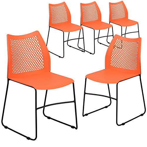 Flash Furniture 5 Pk. HERCULES Series 661 lb. Capacity Orange Sled Base Stack Chair with Air-Vent Back