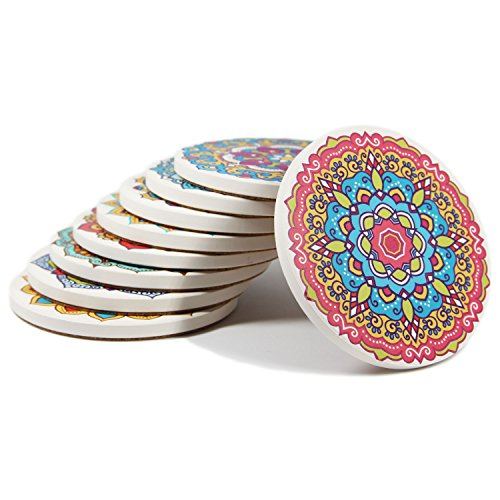 Coasters Set of 9 Absorbent Stone Coaster for Drinks - Desktop Protection Prevent Furniture Damage - Colorful Mandala Style Tabletop Drink spills Coasters Drink Coaster Set