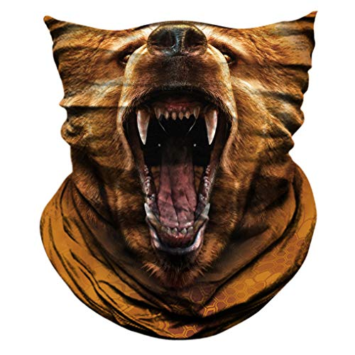 2 Pack - 3D Animal Neck Gaiter Scarf Bandana Face Mask Seamless UV Protection for Motorcycle Cycling Riding Running Fishing Hiking Conoeing Brown Bear