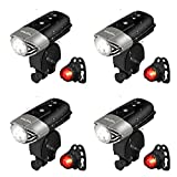 Cheap Viugreum 4 PACK USB Rechargeable Bike Light LED Front Headlight and Tail Back Rear Bicycle Light, IP65 Waterproof 2000mAh Lithium Battery USB Road Cycling Safety Flashlight for Kids Women Men