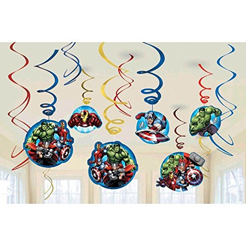 Avengers Decorations (Marvels Avengers Dangling Swirl Decorations Birthday Party Supplies Favor Pack)