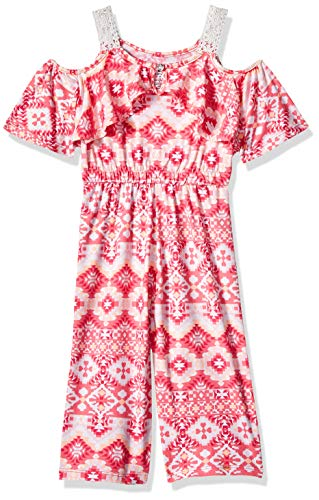 (One Step Up Girls' Big Knit Jumpsuit, Pink Print 7/8)