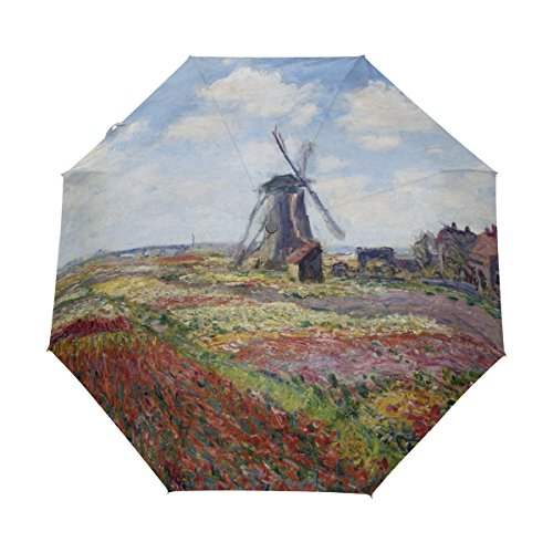 (Auto Open Close Umbrella Fields Of Tulip With Rijnsburg Windmill Monet Art Windproof Compact Folding travel Umbrellas)