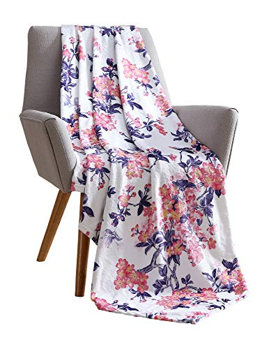 Hudson & Essex Decorative Plush Throw Blanket: Soft Velvet Fleece with Bright Flower Accent on White Background for Couch or Bed, Colored: Purple, Pink, Yellow, White VCNY Giardino