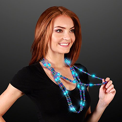 FlashingBlinkyLights Turquoise Light Up LED Bead Necklace -