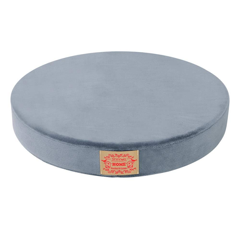 Grey baibu Seat Cushion Memory Foam Round Chair Pad Lumbar Support Pillow Yoga Cushion for Comfortable Sitting-16 inch