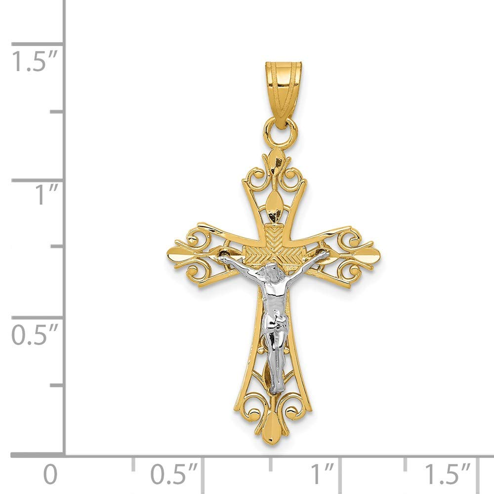 35mm x 20mm Mia Diamonds 14k Gold Two-Tone Gold Diamond-Cut Crucifix Pendant