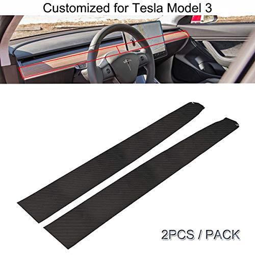 Tesla Model 3 Interior Dashboard Wood Wrap Stickers Carbon Fiber Vinyl Wrap Stickers (Dashboard Sticker) … (Dashboard Wood)