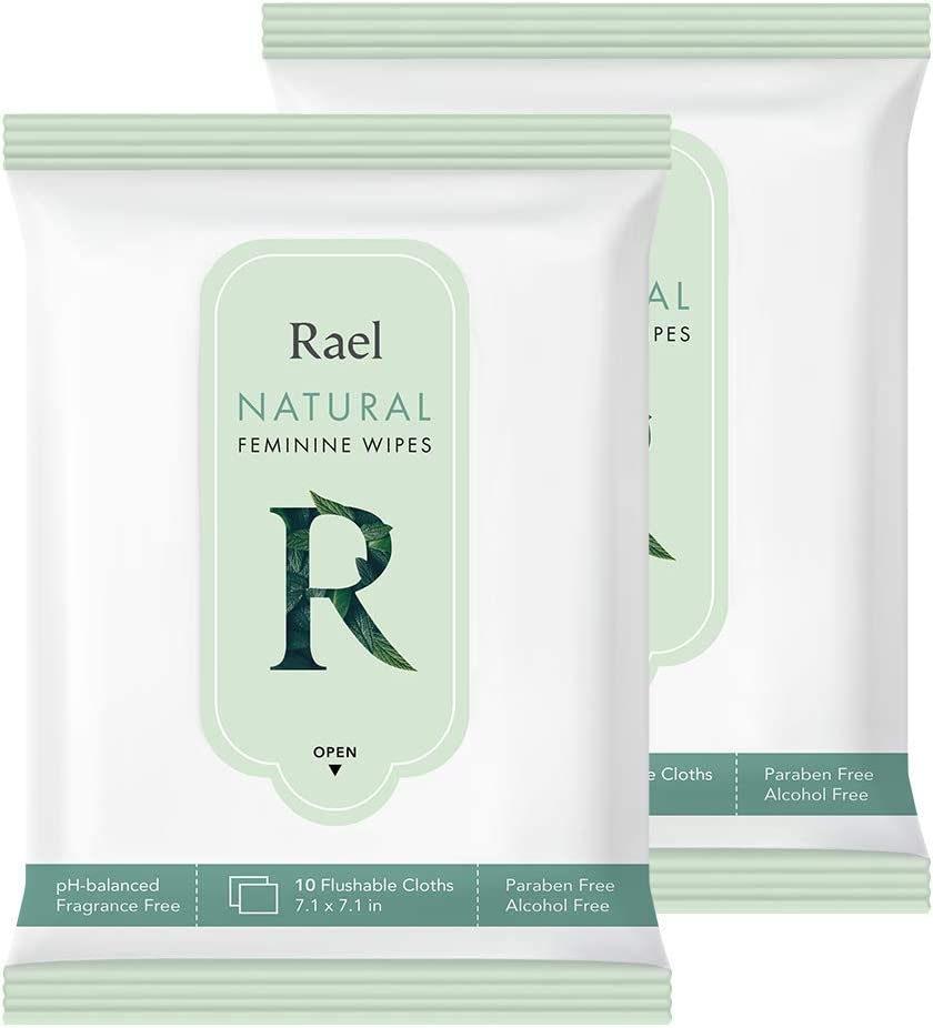 Rael Feminine Wipes with Natural Ingredients, use Day or Night, flushable, pH-Balanced, Gentle and Safe on The Skin. (2 Pack)