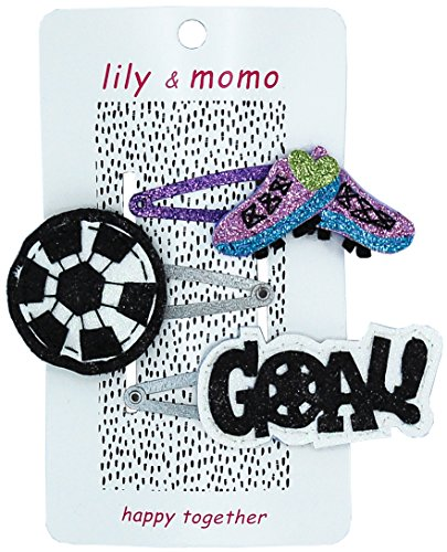 Soccer Star Trio Hair Clips - Girls, Toddlers Accessories - Cleats, Ball and Goal Hair Clips - Glitter Lilac, Aqua, Green, White and Black - Non Slip Snap Clip, Suitable (Glitter Black Stars Snap)