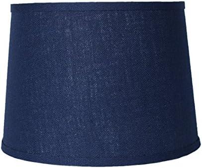 Urbanest Blue Burlap Drum Lampshade, 10x12x8.5 , Spider Fitter