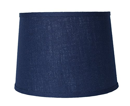 "Urbanest Blue Burlap Drum Lampshade, 12x14x10"", Spider Fitte"