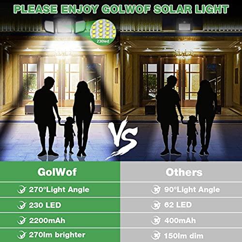 Luz Solar Exterior GolWof 2 Piezas 230LED 3 Cabezas Lampara Solar Exterior con Sensor de Movimiento 270º lluminación Foco Solar Exterior IP65 Impermeable para Frente Jardin Garaje Camino Patio