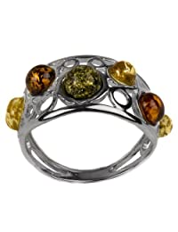 Sterling Silver Multicolor Amber Parade of Planets Look Ring