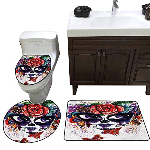Extended Bath mat 3 Piece Set Sugar Skull Watercolor Painting Style Girl Face with Make Up and Floral Crown Big Eyes Pattern Multicolor -