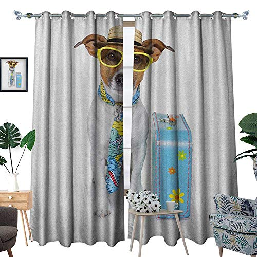 Warm Family Dog Room Darkening Wide Curtains Traveler Funny Dog Dressed as a Tourist with Hat Glasses Necktie and a Floral Suitcase Decor Curtains by W120 x L96 Multicolor