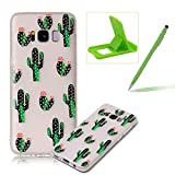 Clear Case for Samsung Galaxy S8,Soft TPU Cover for Samsung Galaxy S8,Herzzer Ultra Slim Pretty [Cactus Flower Pattern] Silicone Gel Bumper Flexible Crystal Transparent Skin Protective Case + 1 x Free Green Cellphone Kickstand + 1 x Free Green Stylus Pen