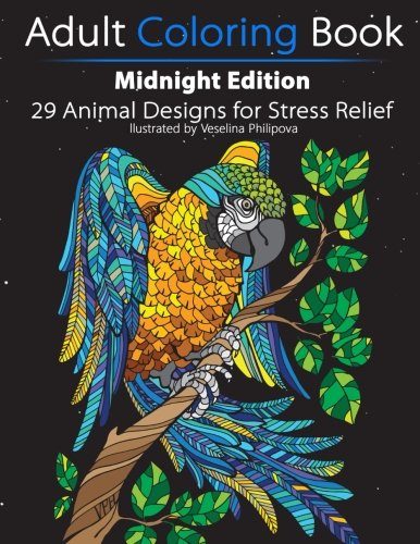 Adult Coloring Book Midnight Edition 29 Animal Designs For Stress Relief Unibul