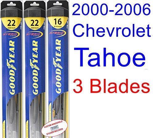 Hybrid Tahoe Chevrolet (2000-2006 Chevrolet Tahoe Replacement Wiper Blade Set/Kit (Set of 3 Blades) (Goodyear Wiper Blades-Hybrid) (2001,2002,2003,2004,2005))