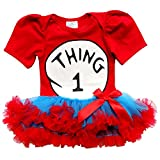 So Sydney Baby Toddler Girl Thing 1 2 Tutu Chiffon Skirt Bodysuit Romper Costume (M (6-12 Months), New Thing ONE)