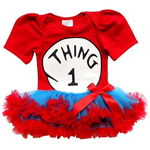 So Sydney Baby Toddler Girl Thing 1 2 Tutu Chiffon Skirt Bodysuit Romper Costume (M (6-12 Months), New Thing ONE) (Thing 1 Thing 2 Outfits)