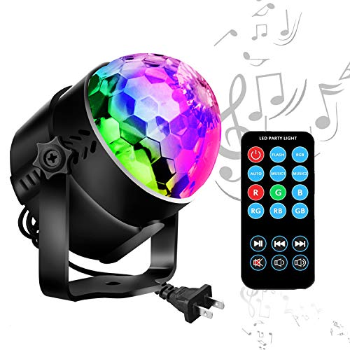 Disco Ball LED Party Lights-TTF Sound Activated LED RGB Strobe Light 7 Color Modes Party Supplies for Halloween Dance Party DJ Club Karaoke Decoration]()