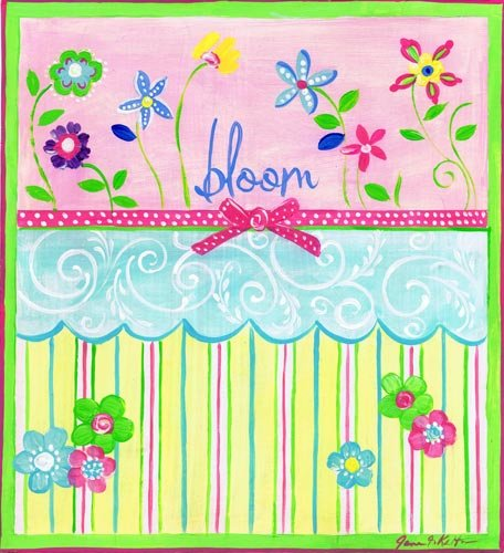 (The Kids Room by Stupell Bloom Floral and Stripes Square Wall Plaque)