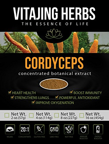 Pure Cordyceps Sinensis Mushroom Extract Powder, 20:1 Concentration - Non-GMO, Gluten-Free, Vegan - 2oz / 57gm