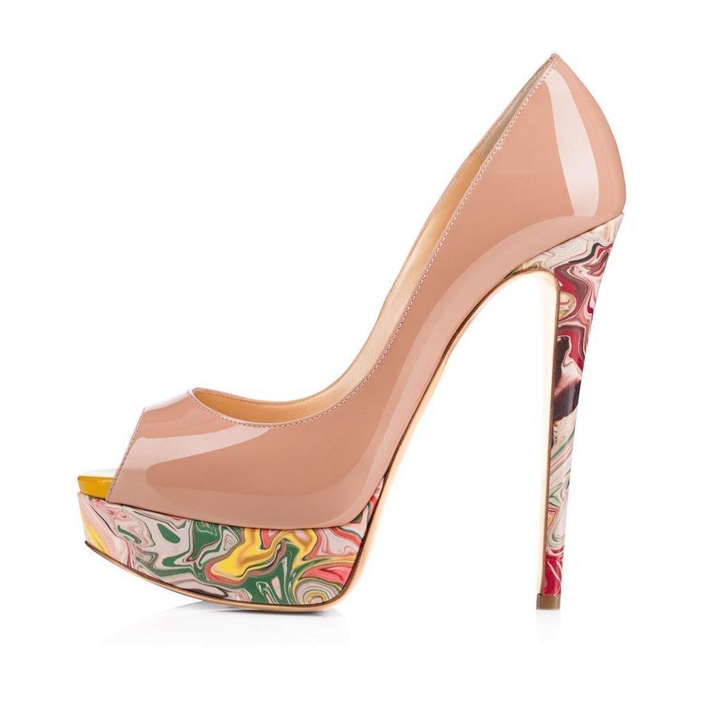 Calaier Womens Cawinner Peep-Toe 16CM Stiletto Slip-on Pumps Shoes 42.5 EU|Beige B