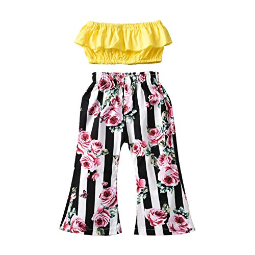 Tops Pants Off - Ninstar Kids Toddler Girl Pant Set,Ruffle Off Shoulder Top Floral Stripe Flared Long Pants Clothes 2PCS Yellow Black White