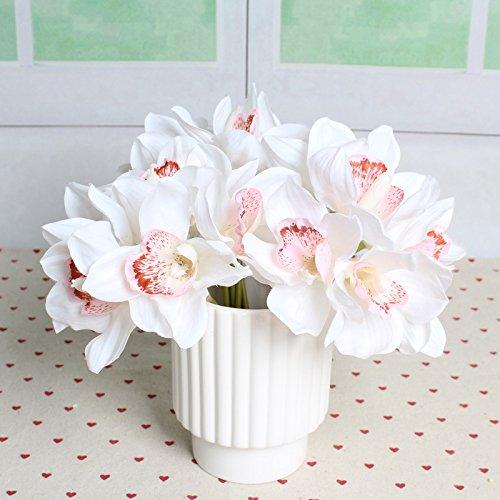 Cymbidium Orchid Bouquet White (TiTa-Dong 6 Heads Simulation Cymbidium Orchid Artificial Flower Bouquet For Wedding Bridal Home Party Decor White)