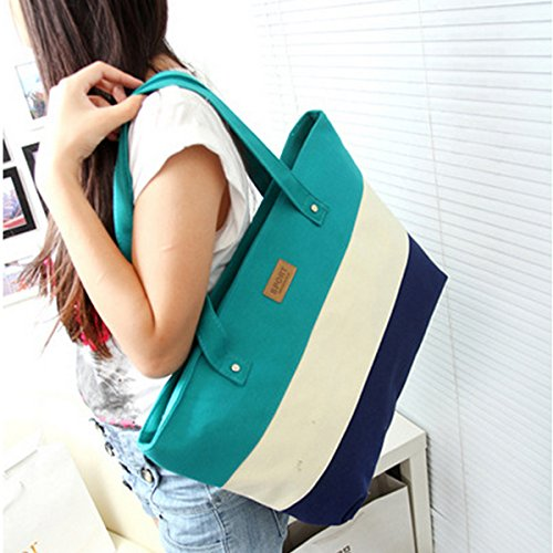 Shoulder Rose Green LA Three Stitching Tote color Red Canvas HAUTE Bag Handbag Stripes Fashion Womens FwnSvqFA7