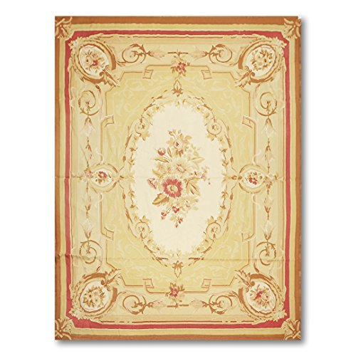 Asmara 9'x12' Dodo Beige, Gold, Crimson Red, Ivory, Brown, Multi Hand Woven Needlepoint Aubusson Wool Traditional Oriental Area Rug
