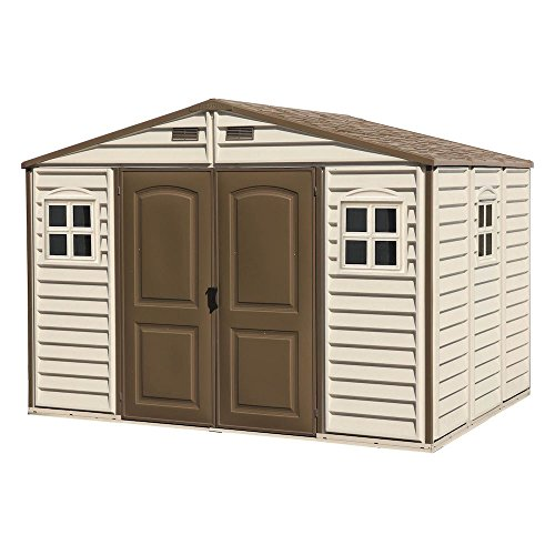 Duramax 30214 Fire Retardant PVC Resin, All-Weather, Waterproof Outdo Woodside 10.5 x 8 Ft. Vinyl Garden Storage Shed | Made of, 10.5' x 8', Beige/Brown