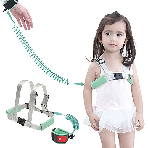 [2018 New Version] OFUN Safety Harness for Kids, Baby Harness for Walking, Toddler Harness Safety Leashes, Anti Lost Wrist Link for Toddlers (Mint Green)