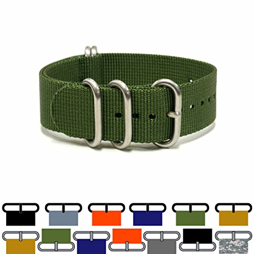 PerFit ZULU4 Ballistic Nylon Watch Strap + Spring Bars, Field Ready/Fashion Forward,, Choose Color/Size(18mm,20mm,22mm,24mm,26mm), G.I. Green, - Hours Green Wellington