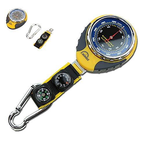 ZUEN Multifunctional Outdoor Barometer, 4 in 1 Compass Altimeter Barometer Compass Thermometer Mechanical for Carabiner Camping Hiking Pocket
