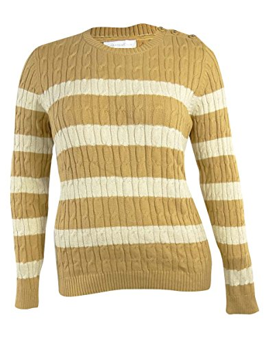 Charter Club Women's Button-Shoulder Cable-Knit Striped Sweater, Sweet Cream, ()