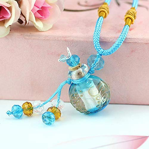 Glass Bottle Glaze Oil Diffuser Perfume Refill Pendant Necklace Braided Chain Necklace Jewelry Crafting Key Chain Bracelet Pendants Accessories Best| Color - Sky Blue ()