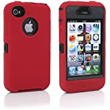 iphone 4 Case,iphone 4s Case,Rugged Rubber Case for Iphone 4/4s Hybrid with built in Screen Protector,Military Protective Cover for iphone 4/4s (Red Black)
